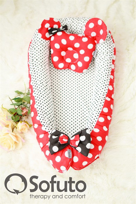 Кокон-гнездышко Sofuto Babynest Minnie red dots - фото 63218