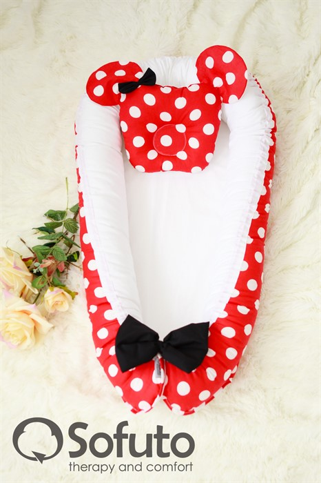 Кокон-гнездышко Sofuto Babynest Minnie red - фото 63247