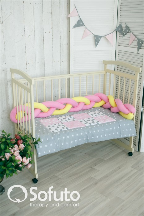 Бортик коса Sofuto Babyroom yellow and pink - фото 73457