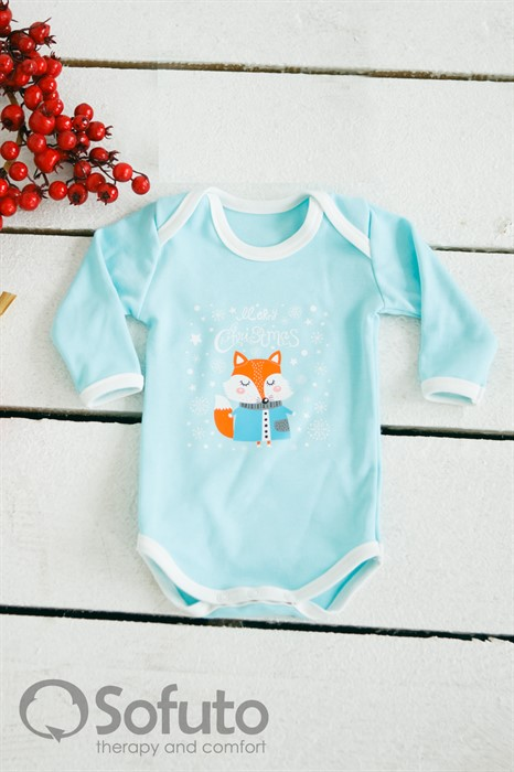 Боди детское  Sofuto baby New year aqua with white - фото 77830