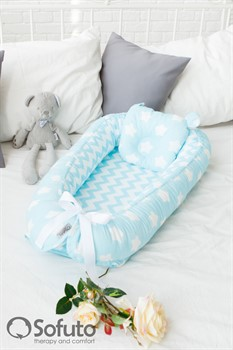 Кокон-гнездышко Sofuto Babynest  Stars and waves aqua