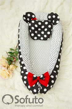 Кокон-гнездышко Sofuto Babynest Minnie black dots