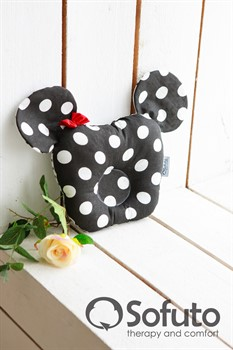 Подушка для новорожденного Sofuto Baby pillow Minnie black dots