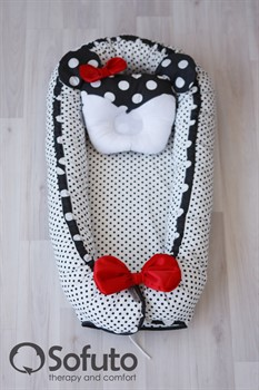 Кокон-гнездышко Sofuto Babynest Polka mini dot black