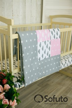 Одеяло стеганное Sofuto Babyroom Rose ashes patchwork